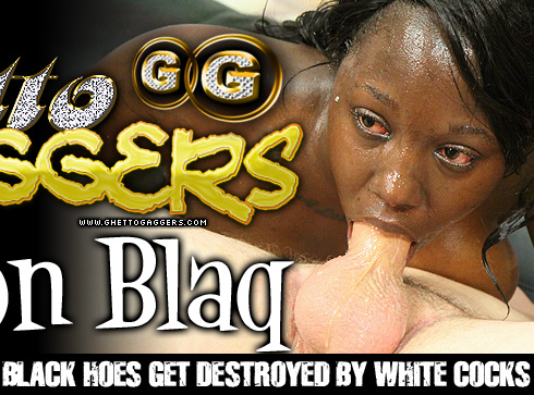 Ghetto Gaggers London Blaq chokes on white cocks